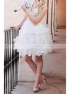 V-neck Ball Gown Short/Mini Organza Tiered Wedding Dresses #DOB00020720
