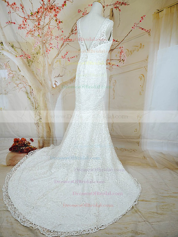V-neck Trumpet/Mermaid Court Train Lace Satin Beading Wedding Dresses #DOB00020721