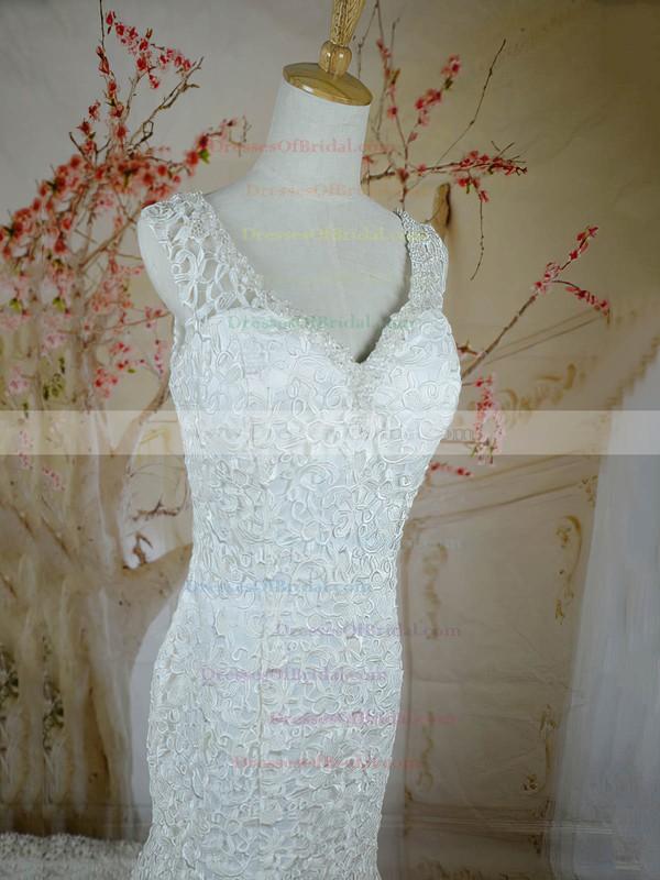 V-neck Trumpet/Mermaid Court Train Lace Satin Beading Wedding Dresses #DOB00020721