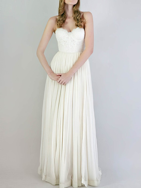 Sweetheart Empire Floor-length Chiffon Lace Lace Wedding Dresses #DOB00020741