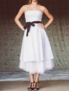Strapless A-line Tea-length Taffeta Sashes/Ribbons Wedding Dresses #DOB00020748