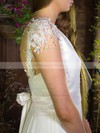 V-neck A-line Floor-length Chiffon Satin Appliques Wedding Dresses #DOB00020755