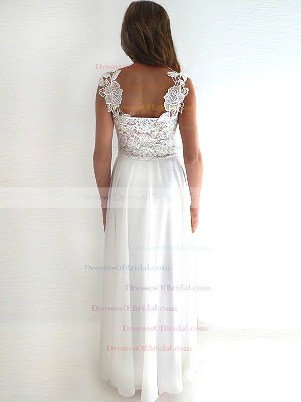 Straps Sheath/Column Floor-length Chiffon Lace Sashes/Ribbons Wedding Dresses #DOB00020759