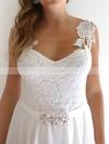 Straps Sheath/Column Floor-length Chiffon Lace Sashes/Ribbons Wedding Dresses #DOB00020759