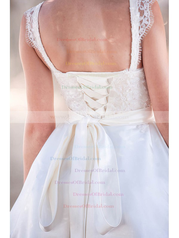 Sweetheart Ball Gown Knee-length Satin Lace Wedding Dresses #DOB00020764