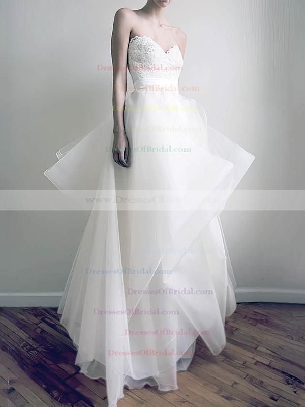 Sweetheart A-line Floor-length Organza Appliques Wedding Dresses #DOB00020772