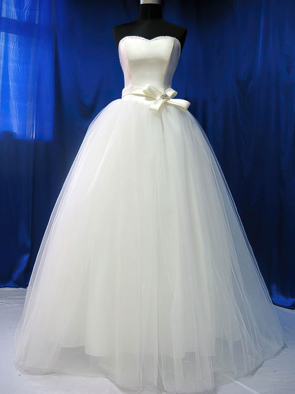 Sweetheart Ball Gown Floor-length Tulle Satin Beading Wedding Dresses #DOB00020783