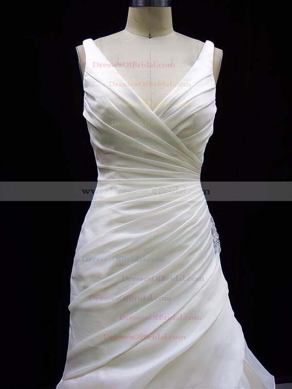V-neck Trumpet/Mermaid Court Train Organza Ruffles Wedding Dresses #DOB00020784