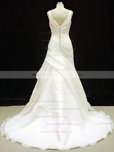 V-neck Trumpet/Mermaid Court Train Organza Ruffles Wedding Dresses #DOB00020784