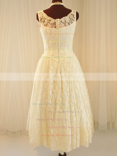 Straps A-line Tea-length Lace Satin Buttons Wedding Dresses #DOB00020790