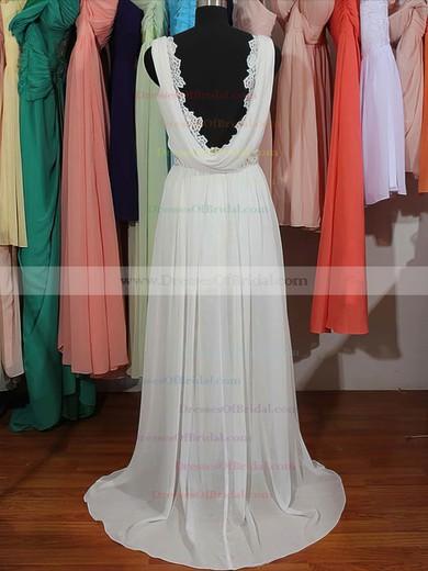 V-neck Sheath/Column Sweep Train Chiffon Lace Beading Wedding Dresses #DOB00020803