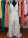 V-neck Sheath/Column Sweep Train Chiffon Lace Beading Wedding Dresses #DOB00020803