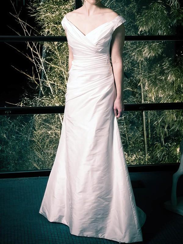 Off-the-shoulder A-line Sweep Train Taffeta Ruffles Wedding Dresses #DOB00020808