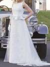 Scoop A-line Court Train Lace Tulle Bow Wedding Dresses #DOB00020809