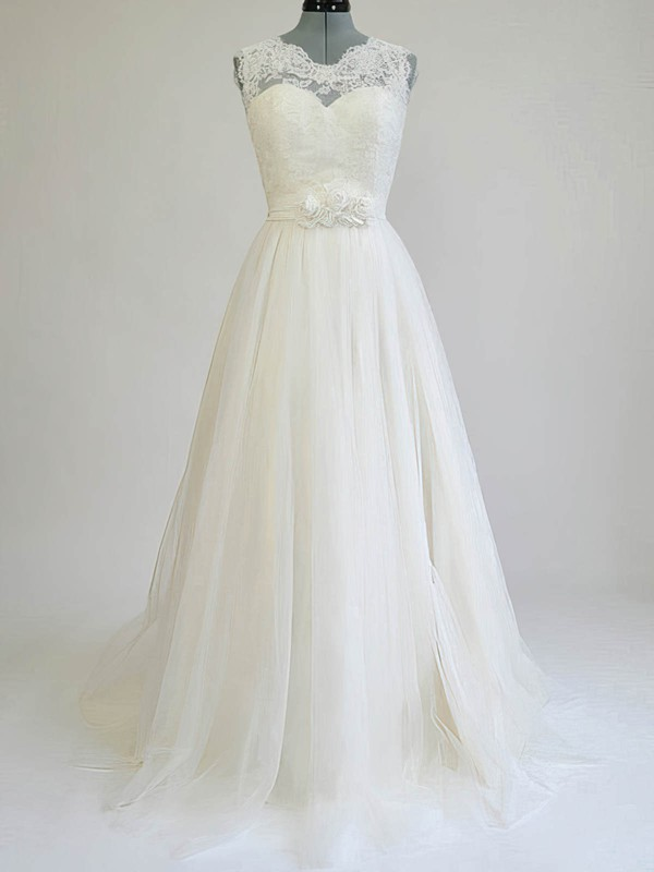 Scalloped A-line Sweep Train Tulle Satin Flower(s) Wedding Dresses #DOB00020812
