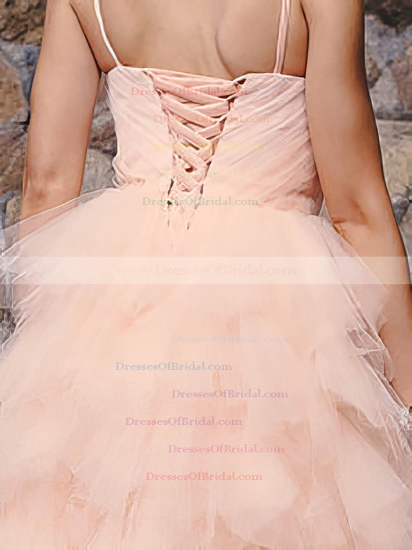 Straps Ball Gown Knee-length Tulle Satin Tiered Wedding Dresses #DOB00020813
