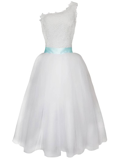 One Shoulder A-line Tea-length Lace Tulle Sashes/Ribbons Wedding Dresses #DOB00020825