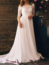 Bateau A-line Court Train Chiffon Lace Wedding Dresses #DOB00020839