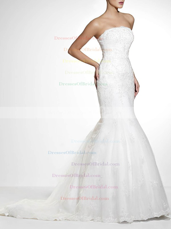 Strapless Trumpet/Mermaid Sweep Train Lace Satin Appliques Wedding Dresses #DOB00020840