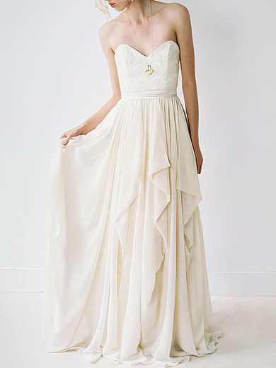 Sweetheart A-line Court Train Chiffon Lace Wedding Dresses #DOB00020848
