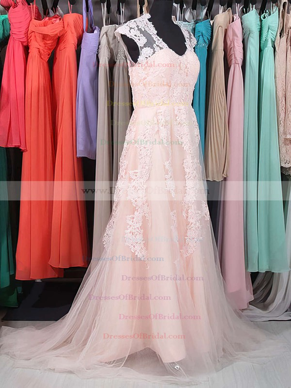 V-neck A-line Sweep Train Tulle Satin Lace Wedding Dresses #DOB00020863