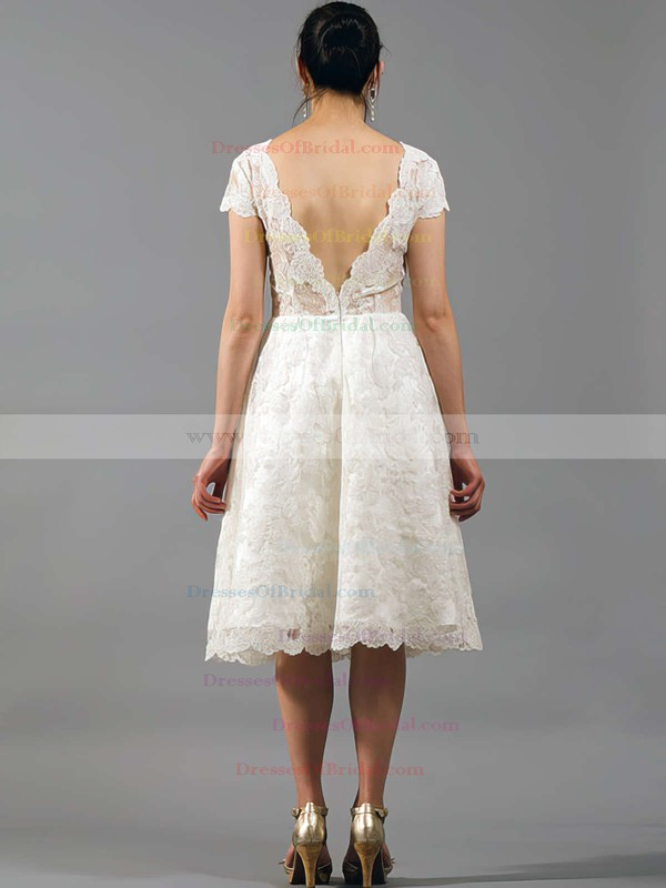 V-neck A-line Knee-length Lace Satin Draped Wedding Dresses #DOB00020864