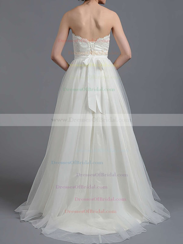Sweetheart A-line Sweep Train Tulle Satin Sashes/Ribbons Wedding Dresses #DOB00020865