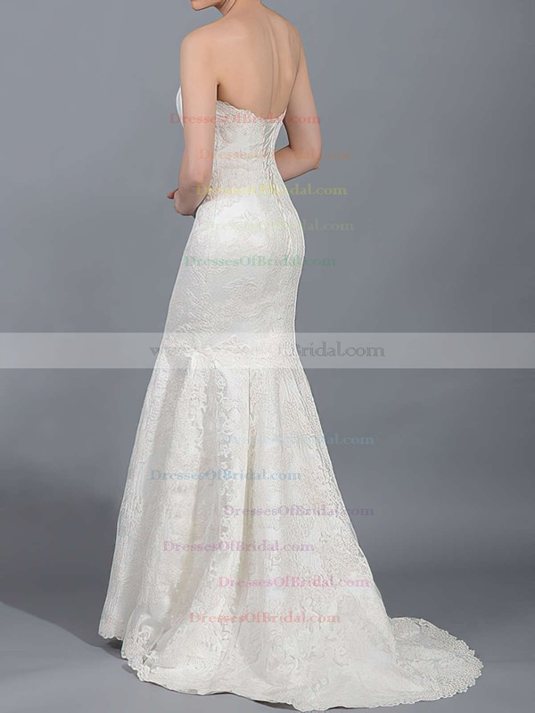 Strapless Trumpet/Mermaid Sweep Train Lace Satin Draped Wedding Dresses #DOB00020866