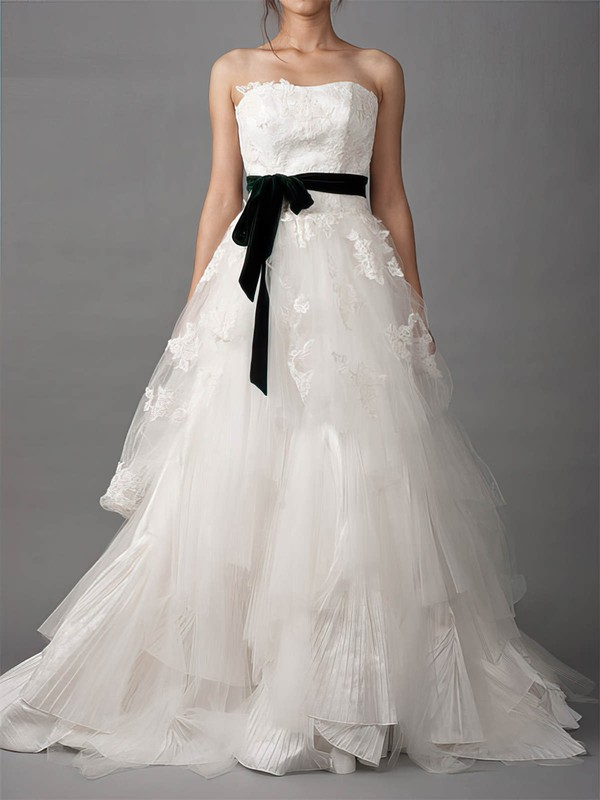 Strapless A-line Court Train Lace Tulle Satin Sashes/Ribbons Wedding Dresses