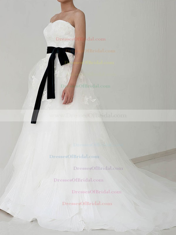 Strapless A-line Court Train Lace Tulle Satin Sashes/Ribbons Wedding Dresses #DOB00020882