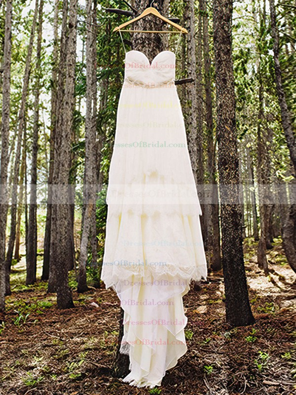 Spaghetti Straps Empire Court Train Lace Satin Ruffles Wedding Dresses #DOB00020885