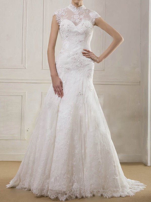 High Neck Trumpet/Mermaid Sweep Train Lace Satin Appliques Wedding Dresses #DOB00020901