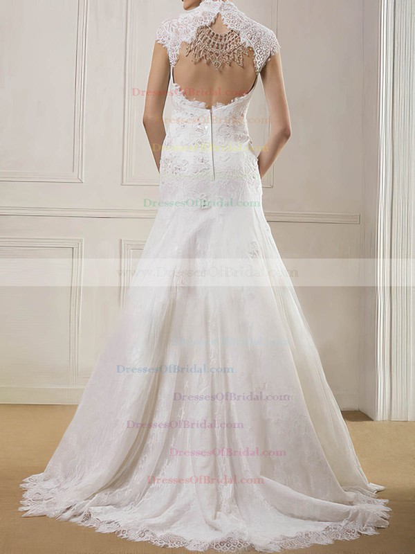 High Neck Trumpet/Mermaid Sweep Train Lace Satin Appliques Wedding Dresses #DOB00020901