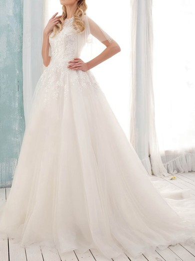 Scoop A-line Court Train Tulle Satin Appliques Wedding Dresses #DOB00020902