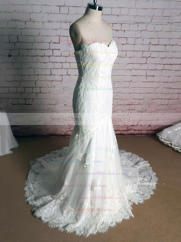 Sweetheart Trumpet/Mermaid Court Train Lace Satin Appliques Wedding Dresses #DOB00020920