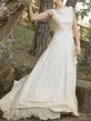 Bateau A-line Court Train Chiffon Lace Wedding Dresses #DOB00020921