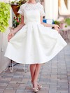 Scalloped A-line Knee-length Satin Lace Pockets Wedding Dresses #DOB00020922