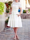 Scalloped A-line Knee-length Satin Lace Pockets Wedding Dresses #DOB00020922