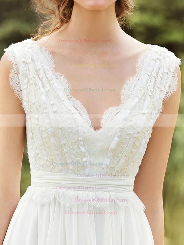 V-neck A-line Floor-length Chiffon Beading Wedding Dresses #DOB00020925