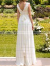 V-neck A-line Floor-length Chiffon Beading Wedding Dresses #DOB00020925