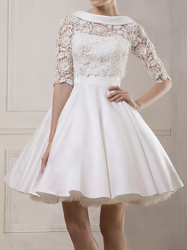 Bateau Ball Gown Short/Mini Satin Lace Wedding Dresses #DOB00020930