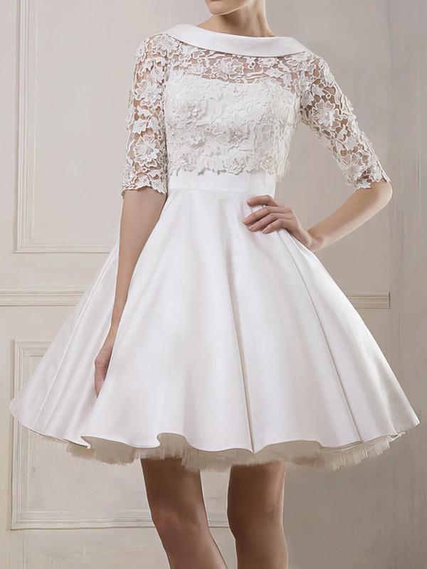Cheap Bateau Ball Gown Shortmini Satin Lace Wedding Dresses