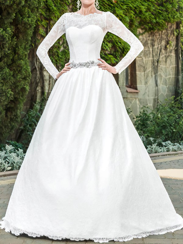 Scalloped A-line Sweep Train Lace Satin Sashes/Ribbons Wedding Dresses #DOB00020939