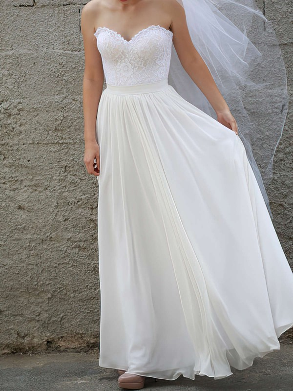 Sweetheart A-line Floor-length Chiffon Lace Wedding Dresses #DOB00020954