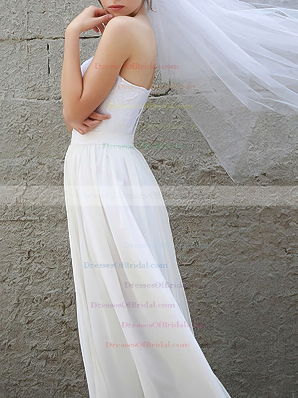 Sweetheart A-line Floor-length Chiffon Lace Wedding Dresses #DOB00020954