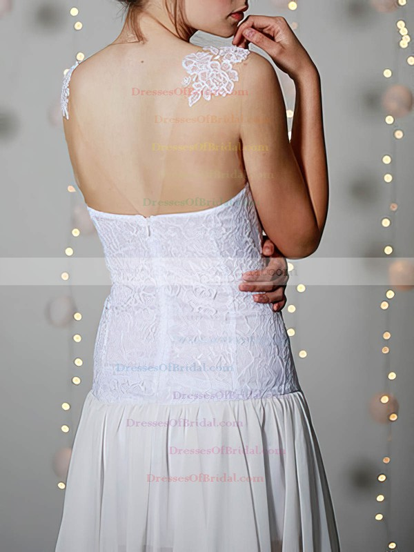 Scoop A-line Short/Mini Chiffon Lace Appliques Wedding Dresses #DOB00020955