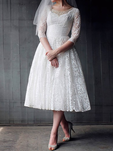 Scoop A-line Tea-length Lace Satin Beading Wedding Dresses #DOB00020958