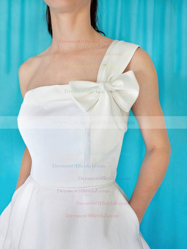 One Shoulder A-line Sweep Train Satin Bow Wedding Dresses #DOB00020959