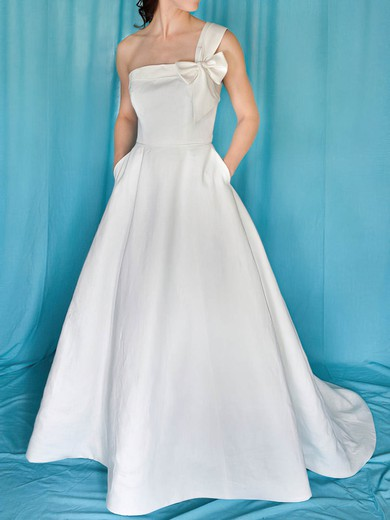 One Shoulder A-line Sweep Train Satin Bow Wedding Dresses #DOB00020959