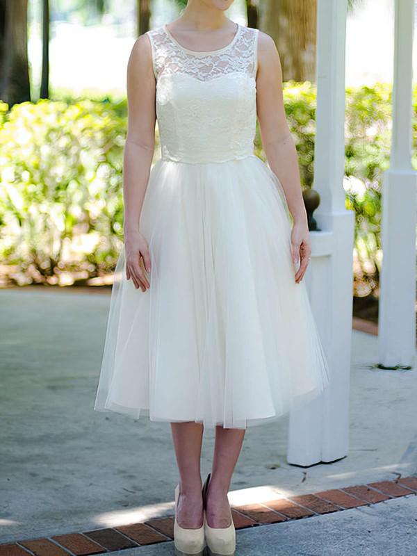 Scoop A-line Tea-length Tulle Satin Lace Wedding Dresses #DOB00020974